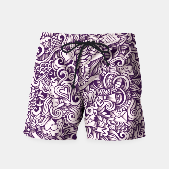 Beautiful Love Doodle Pattern Badeshorts obraz miniatury