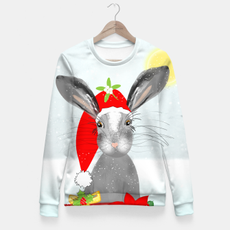 Thumbnail image of Cute Christmas Whimsy Bunny Rabbit Fitted Waist Sweater, Live Heroes