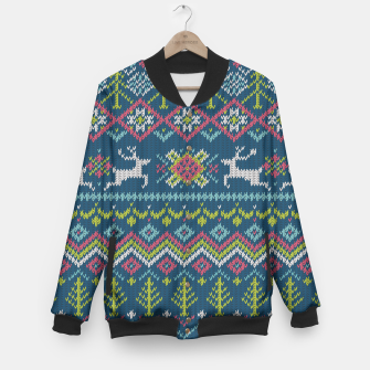 Thumbnail image of Trendy Knitted Pattern College-Jacke, Live Heroes