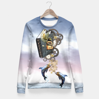 Thumbnail image of Steampunk ocean Story book Fitted Waist Sweater, Live Heroes
