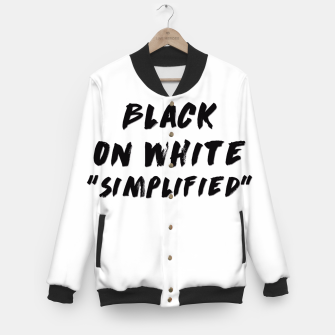 Thumbnail image of Black on White Baseball Jacket, Live Heroes