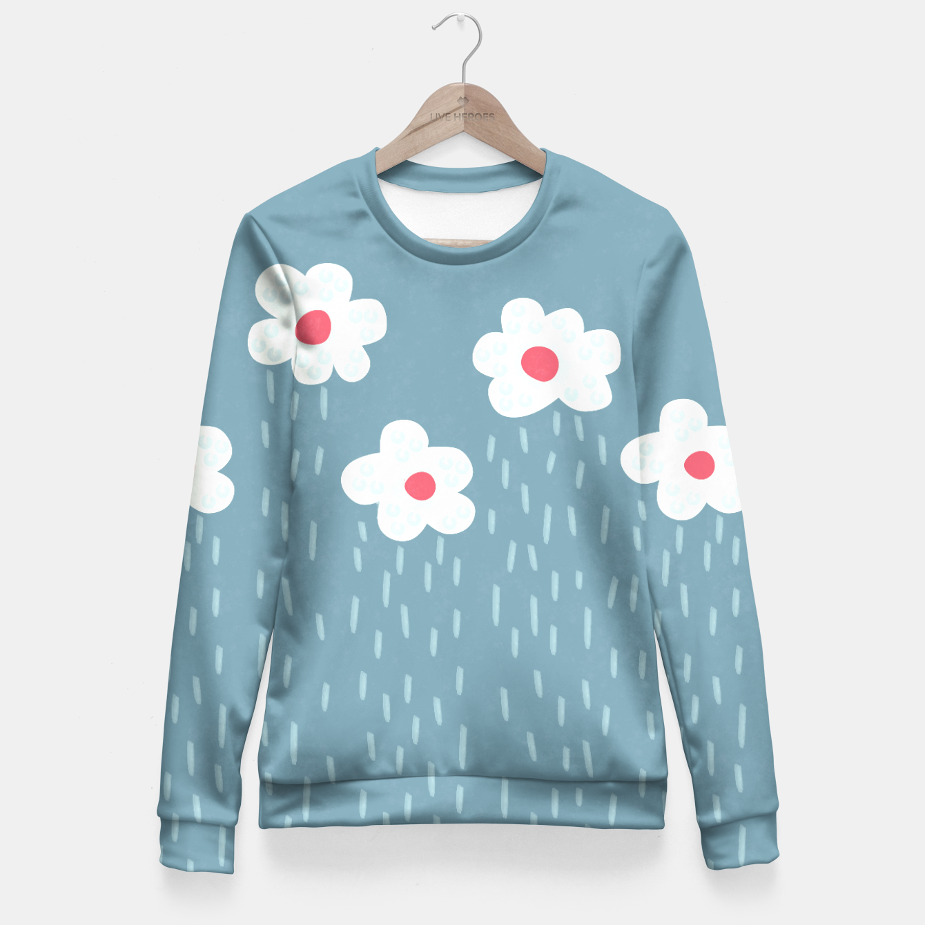 Flowery Rain clouds fitted waist sweater