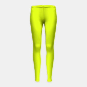 Lime Flat Color Girl's Leggings obraz miniatury