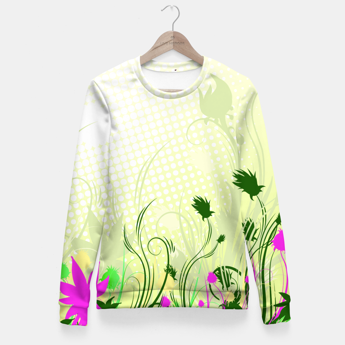 Image of Fantasy abstract flowers Fitted Waist Sweater - Live Heroes