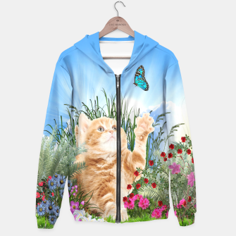 Butterfly playing with kitty Hoodie thumbnail image