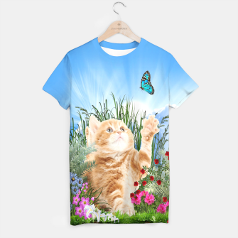 Butterfly playing with kitty T-shirt thumbnail image