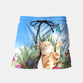 Butterfly playing with kitty Swim Shorts thumbnail image
