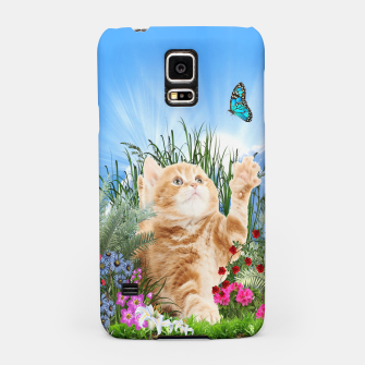 Butterfly playing with kitty Samsung Case thumbnail image