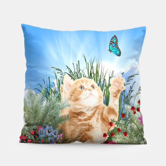 Butterfly playing with kitty Pillow thumbnail image