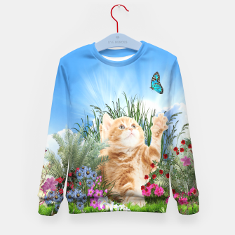 Thumbnail image of Butterfly playing with kitty Kid's Sweater, Live Heroes
