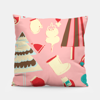 Thumbnail image of christmas vintage pink Pillow, Live Heroes