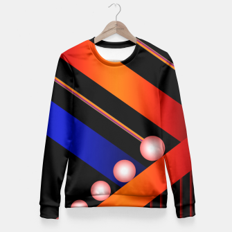 Orange Blue Lace White Orbs Fitted Waist Sweater thumbnail image