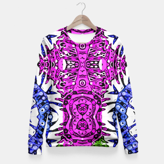 Thumbnail image of Hotness Pink Black Aztec Zebra Print Pattern  Fitted Waist Sweater, Live Heroes