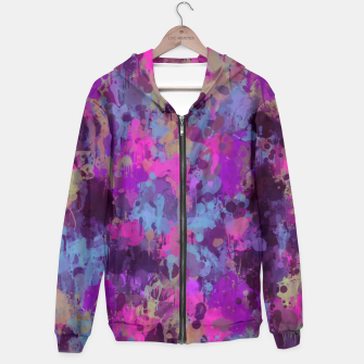 Thumbnail image of Dirty Purple Painted Splatter Original Design Hoodie, Live Heroes