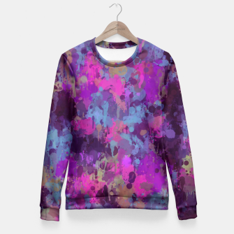 Thumbnail image of Dirty Purple Painted Splatter Original Design Fitted Waist Sweater, Live Heroes