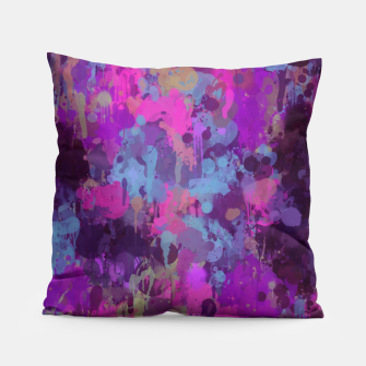 Thumbnail image of Dirty Purple Painted Splatter Original Design Pillow, Live Heroes