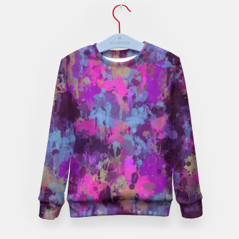 Thumbnail image of Dirty Purple Painted Splatter Original Design Kid's Sweater, Live Heroes