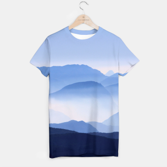 Miniatur Blue Mountains Meditative Relaxing Landscape Scene T-shirt, Live Heroes