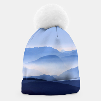 Miniatur Blue Mountains Meditative Relaxing Landscape Scene Beanie, Live Heroes