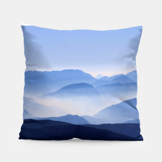 Miniatur Blue Mountains Meditative Relaxing Landscape Scene Pillow, Live Heroes