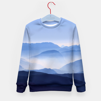 Miniatur Blue Mountains Meditative Relaxing Landscape Scene Kid's Sweater, Live Heroes