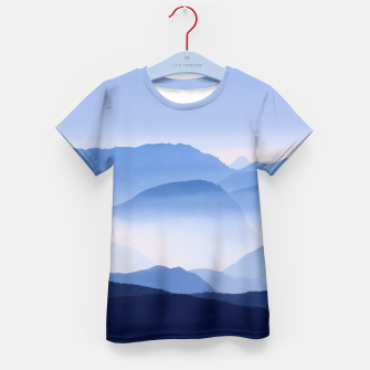 Miniatur Blue Mountains Meditative Relaxing Landscape Scene Kid's T-shirt, Live Heroes