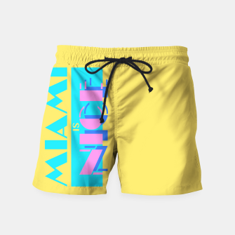 Thumbnail image of MIAMI IS NICE Swim Shorts, Live Heroes