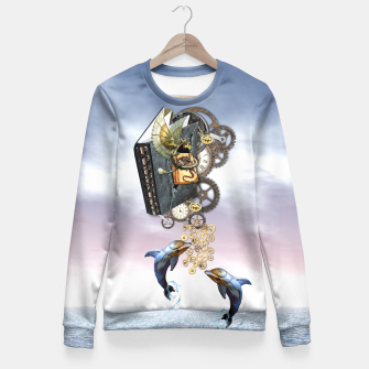 Thumbnail image of Steampunk ocean story tale Fitted Waist Sweater, Live Heroes