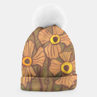 Thumbnail image of Yellow-eyed flowers, floral art,olive green brown beige,  Beanie, Live Heroes