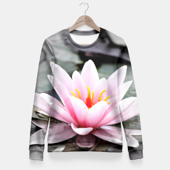 Miniatur Beautiful Pink Lotus Flower Waterlily Meditative Zen Yoga Fitted Waist Sweater, Live Heroes