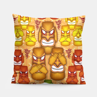 Thumbnail image of Don't See Don't Hear Don't Speak Totems Pillow, Live Heroes