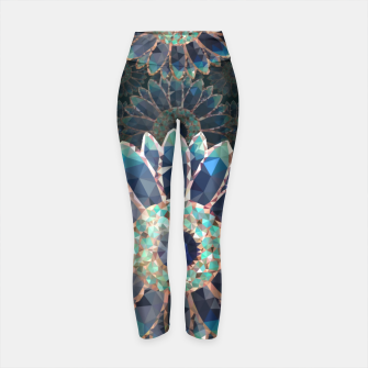 Thumbnail image of Blue turquoise Mosaic Flower Yoga Pants, Live Heroes