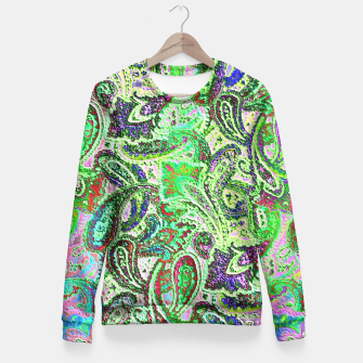 Thumbnail image of Vibrant Paisley in Bright Colors Fitted Waist Sweater, Live Heroes