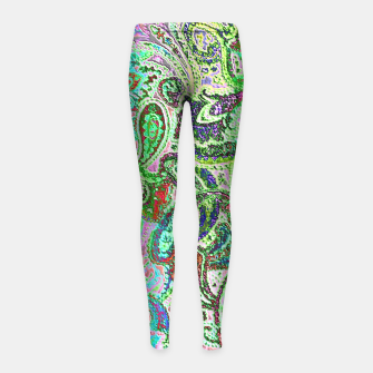 Thumbnail image of Vibrant Paisley in Bright Colors Girl's Leggings, Live Heroes