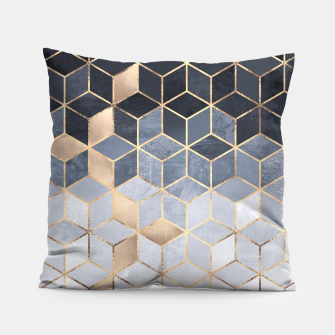 Thumbnail image of Soft Blue Gradient Cubes Pillow, Live Heroes