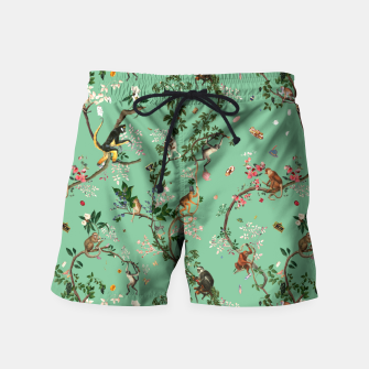 Thumbnail image of Monkey World Green Swim Shorts, Live Heroes