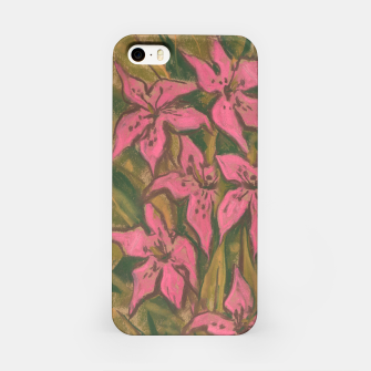 Thumbnail image of Pink lilies, floral art, pastel painting iPhone Case, Live Heroes