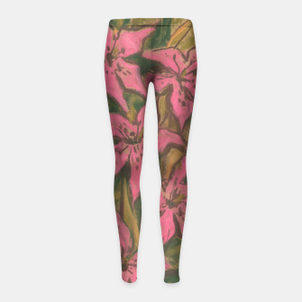 Thumbnail image of Pink lilies, floral art, pastel painting Girl's Leggings, Live Heroes