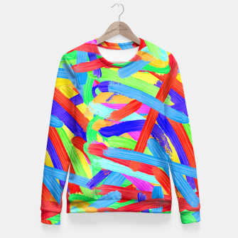 Thumbnail image of Colorful Finger Painting Fitted Waist Sweater, Live Heroes