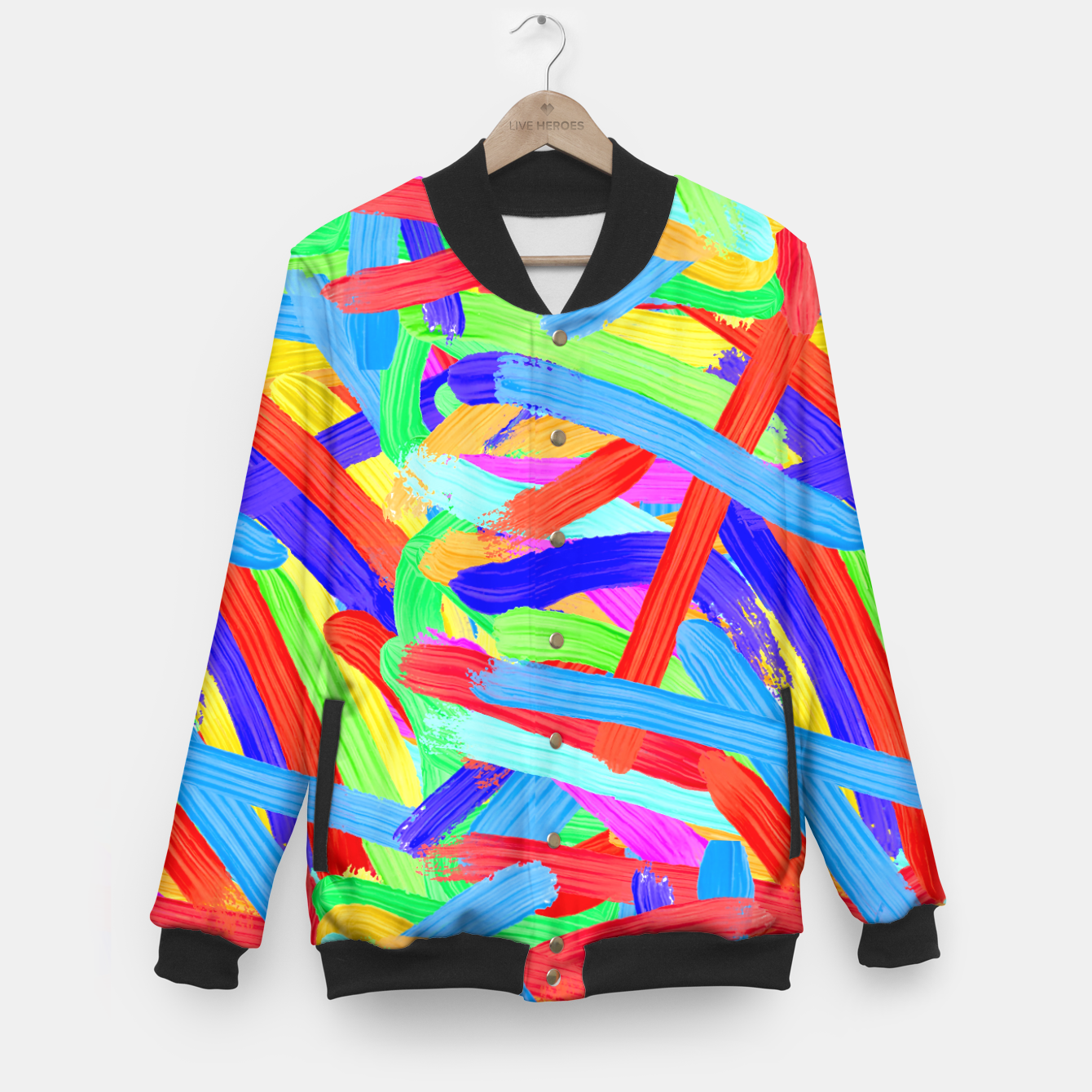 Image of Colorful Finger Painting Baseball Jacket - Live Heroes