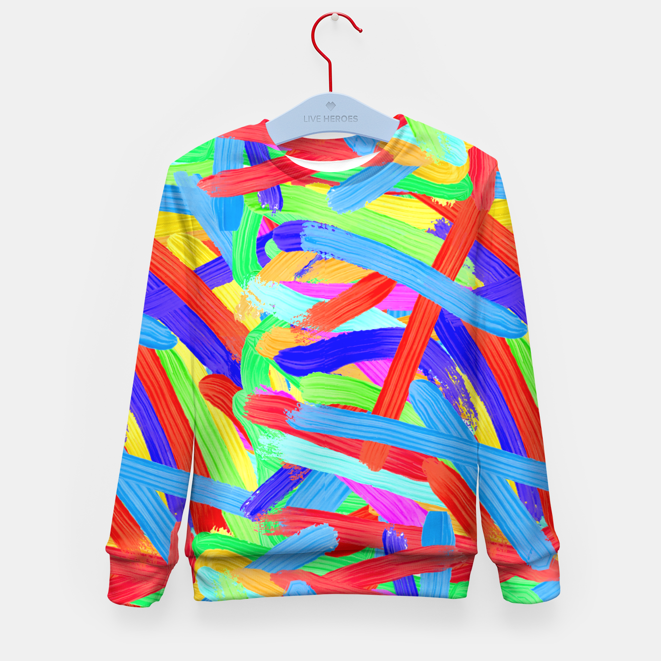 Image of Colorful Finger Painting Kid's Sweater - Live Heroes