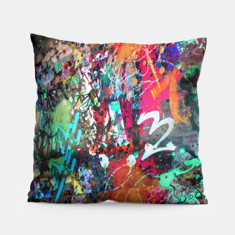 Thumbnail image of Graffiti and Paint Splatter  Pillow, Live Heroes