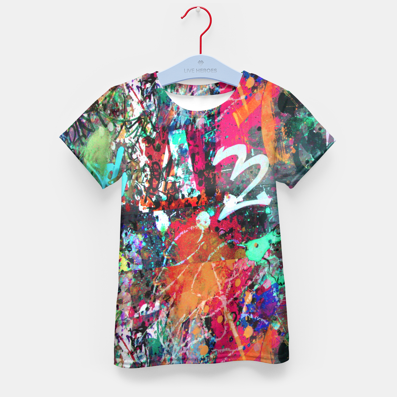 Image of Graffiti and Paint Splatter  Kid's T-shirt - Live Heroes