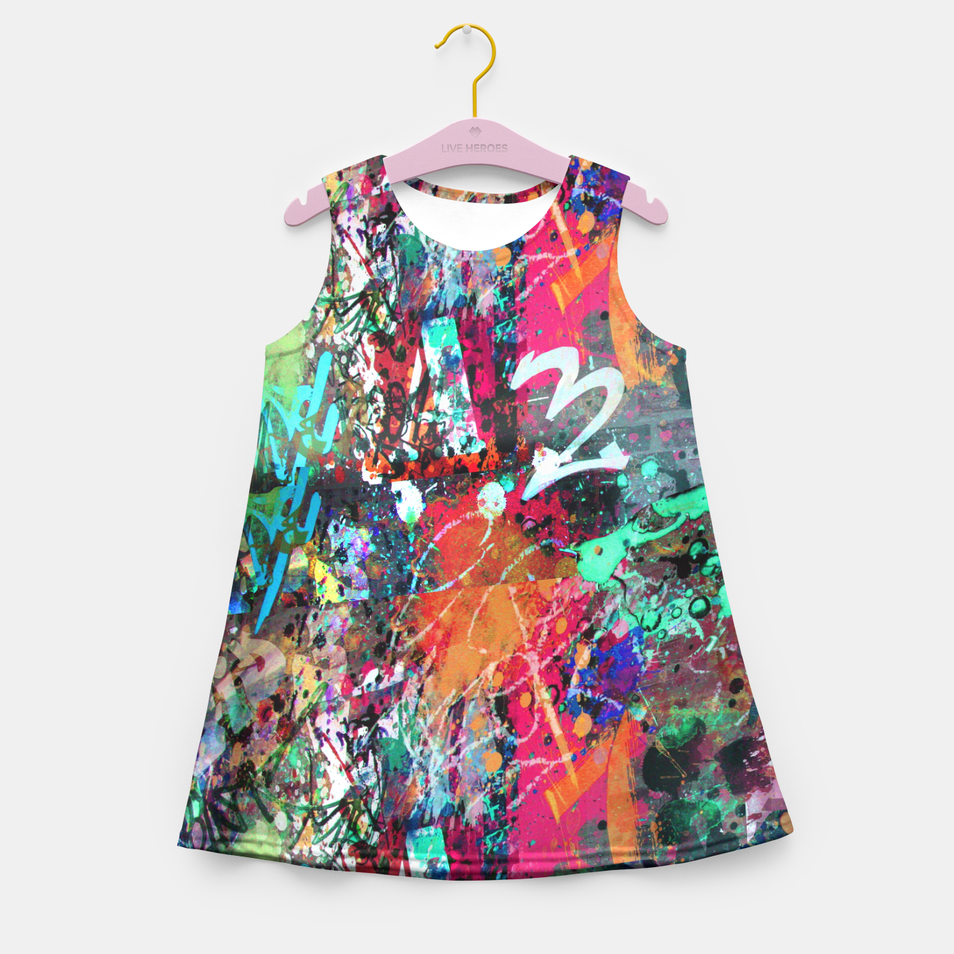 Image of Graffiti and Paint Splatter  Girl's Summer Dress - Live Heroes