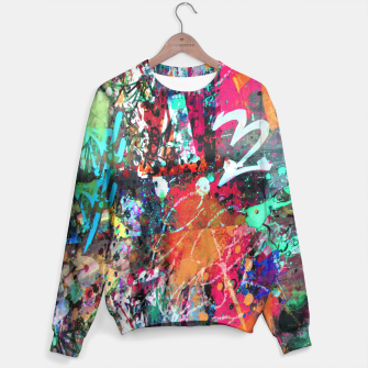 Thumbnail image of Graffiti and Paint Splatter  Sweater, Live Heroes