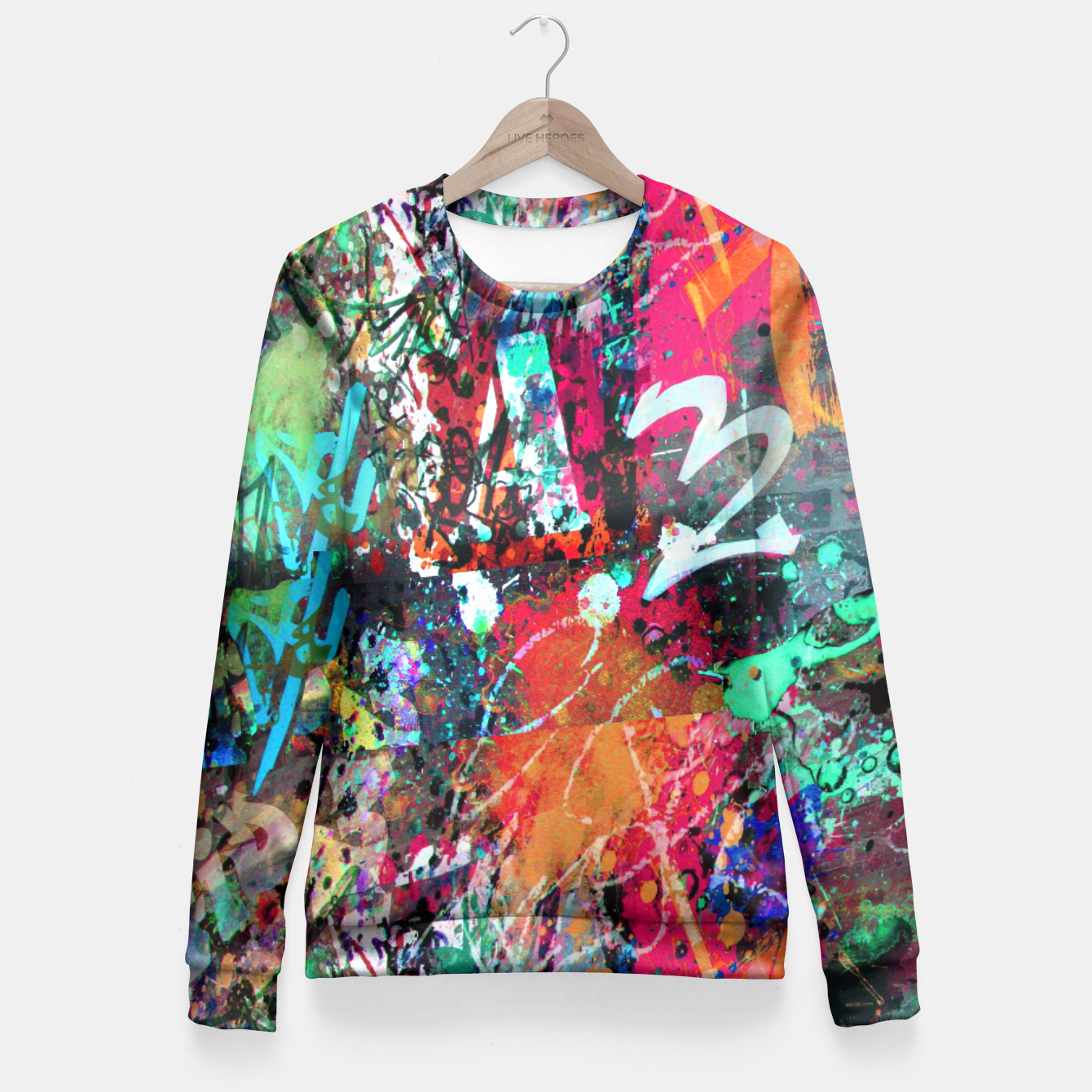 Image of Graffiti and Paint Splatter  Fitted Waist Sweater - Live Heroes
