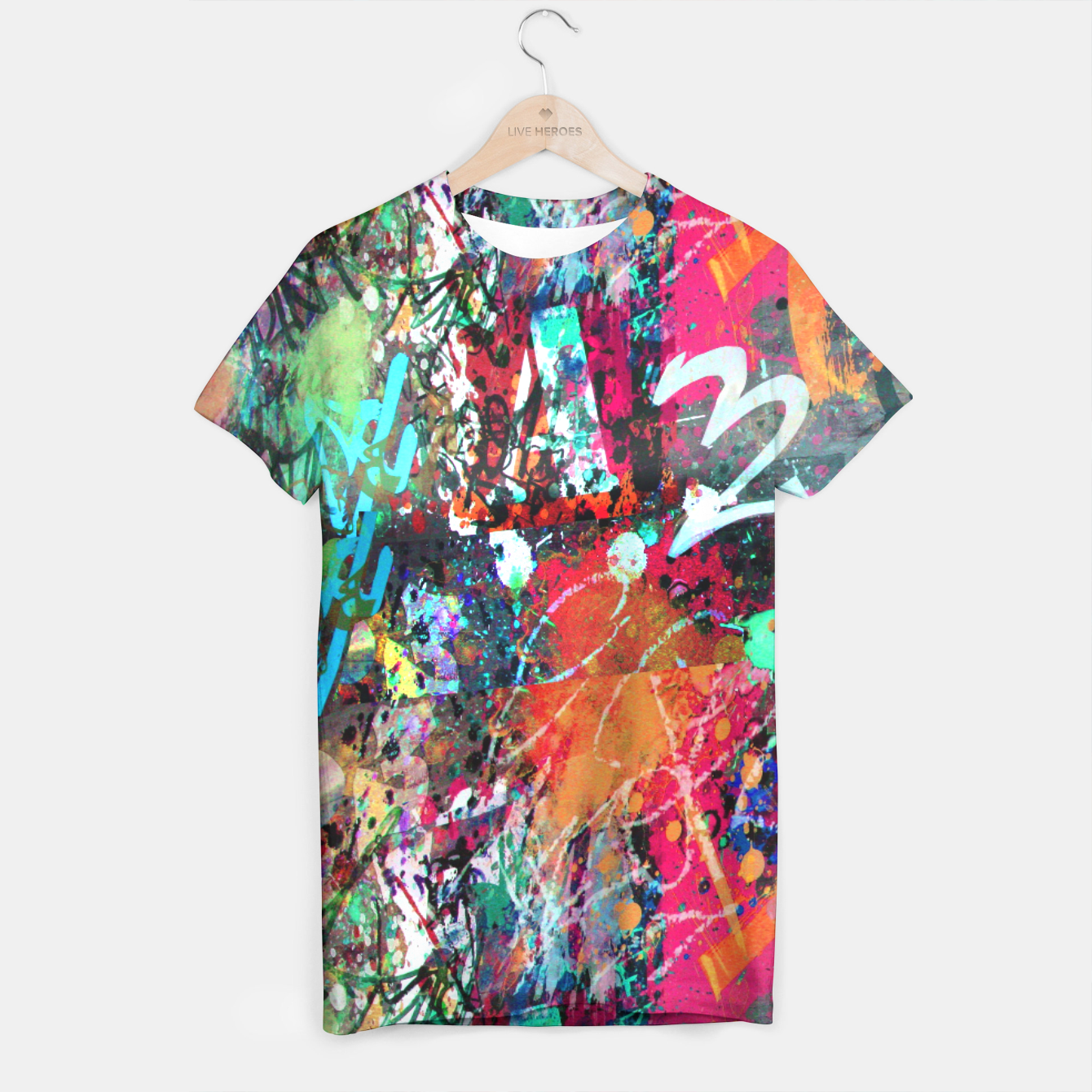Image of Graffiti and Paint Splatter  T-shirt - Live Heroes