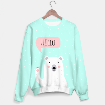 Thumbnail image of Cute Winter Polar Bear says Hello-  Illustration - DESIGN -  Sweater, Live Heroes