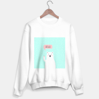 Thumbnail image of Cute Winter Polar Bear says Hello-  Illustration - DESIGN -  Sweater regular, Live Heroes