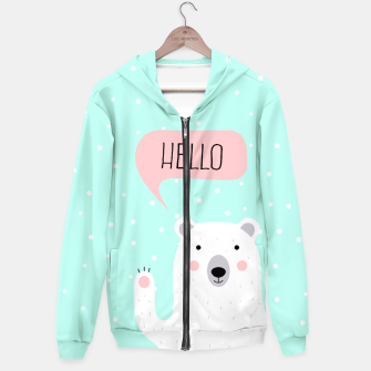 Thumbnail image of Cute Winter Polar Bear says Hello-  Illustration - DESIGN -  Hoodie, Live Heroes